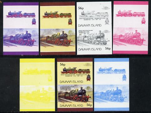 Davaar Island 1983 Locomotives #1 GWR Badminton Class 4-4-0 loco 56p set of 7 imperf se-tenant progressive colour proofs comprising the 4 individual colours plus 2, 3 and...