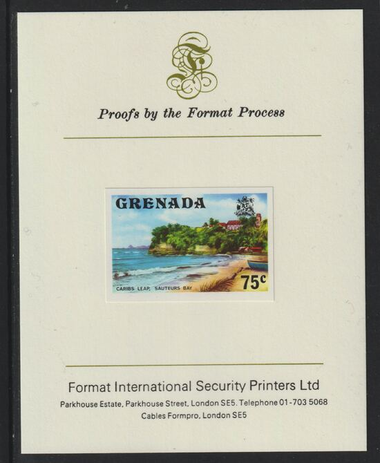 Grenada 1975 Sauteurs Bay 75c imperf proof mounted on Format International proof card (as SG 663)