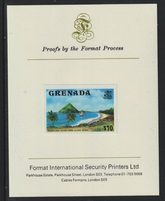 Grenada 1975 Sugar Loaf Island $10 imperf proof mounted on Format International proof card (as SG 668)