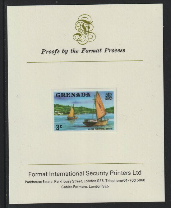Grenada 1975 Working Boats 3c imperf proof mounted on Format International proof card (as SG 652)