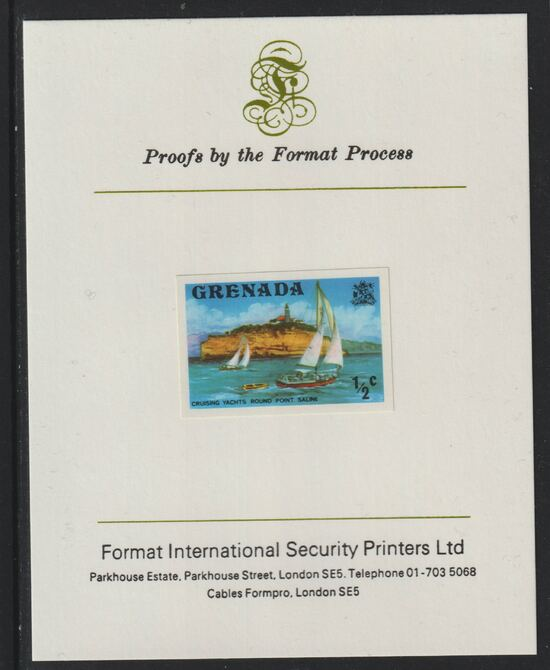 Grenada 1975 Yachts 1/2c imperf proof mounted on Format International proof card (as SG 649)