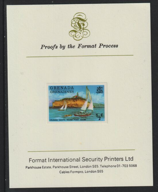 Grenada - Grenadines 1975 Yachts 1/2c imperf proof mounted on Format International proof card (as SG 111)