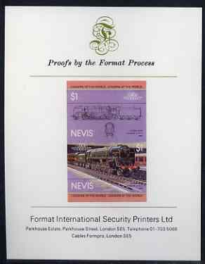 Nevis 1983 Locomotives #1 (Leaders of the World) Evening Star $1 imperf se-tenant proof pair mounted on Format International proof card