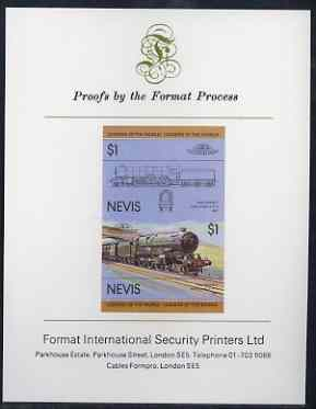 Nevis 1983 Locomotives #1 (Leaders of the World) King George V $1 imperf se-tenant proof pair mounted on Format International proof card (as SG 146a)