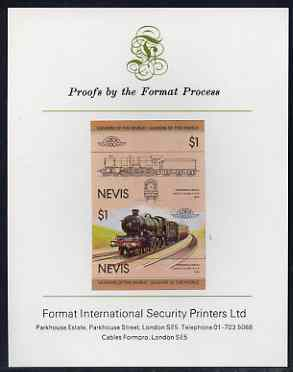 Nevis 1983 Locomotives #1 (Leaders of the World) Pendennis Castle $1 imperf se-tenant proof pair mounted on Format International proof card