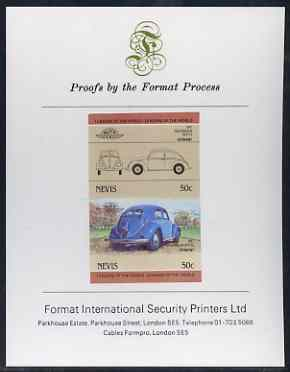 Nevis 1984 50c VW Beetle imperf se-tenant proof pair mounted on Format International proof card (as SG 207a), stamps on , stamps on  stamps on cars, stamps on  stamps on  vw , stamps on  stamps on