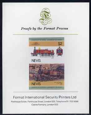 Nevis 1985 Locomotives #3 (Leaders of the World) $2 Class A '4-4-0T'  imperf se-tenant proof pair mounted on Format International proof card (SG 283a)