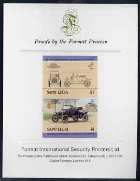 St Lucia 1984 Cars #2 (Leaders of the World) $1 Ford Model 'T' (1914) imperf se-tenant proof pair mounted on Format International proof card