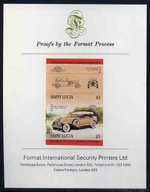 St Lucia 1984 Cars #2 (Leaders of the World) $3 Chrysler Imperial (1931) imperf se-tenant proof pair mounted on Format International proof card