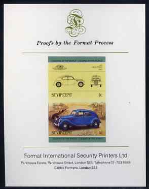 St Vincent 1985 Cars #3 (Leaders of the World) 1c Lancia Aprilia (1937) imperf se-tenant proof pair mounted on Format International proof card