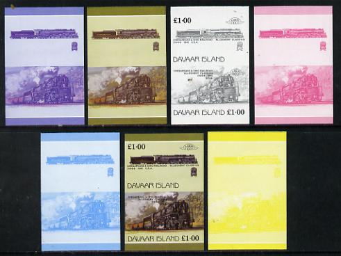 Davaar Island 1983 Locomotives #1 Chesapeake & Ohio Class H8 2-6-6-6 loco \A31 set of 7 imperf se-tenant progressive colour proofs comprising the 4 individual colours plus 2, 3 and all 4-colour composites unmounted mint