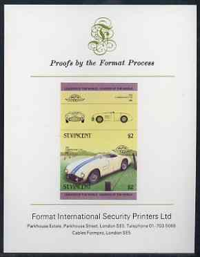 St Vincent 1985 Cars #3 (Leaders of the World) $2 Cunningham C-5R (1953) imperf se-tenant proof pair mounted on Format International proof card