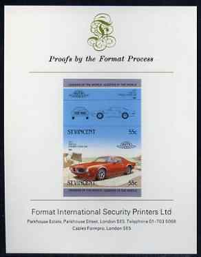 St Vincent 1985 Cars #3 (Leaders of the World) 55c Pontiac Firebird (1973) imperf se-tenant proof pair mounted on Format International proof card