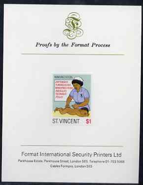 St Vincent 1987 Child Health $1 (as SG 1052) imperf proof mounted on Format International proof card