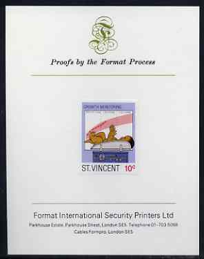 St Vincent 1987 Child Health 10c (as SG 1049) imperf proof mounted on Format International proof card