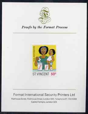 St Vincent 1987 Child Health 50c (as SG 1050) imperf proof mounted on Format International proof card