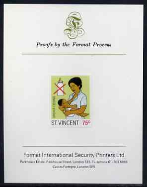 St Vincent 1987 Child Health 75c (as SG 1051) imperf proof mounted on Format International proof card
