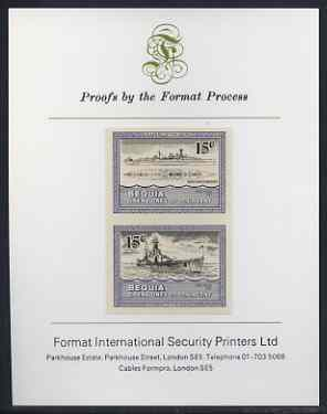 St Vincent - Bequia 1985 Warships of World War 2, 15c HMS Hood imperf se-tenant proof pair mounted on Format International proof card
