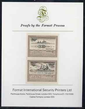 St Vincent - Bequia 1985 Warships of World War 2, 50c HMS Duke of York imperf se-tenant proof pair mounted on Format International proof card
