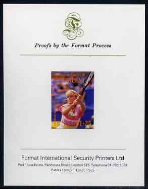 St Vincent - Bequia 1988 International Tennis Players $1.25 (Carlene Basset) imperf proof mounted on Format International proof card