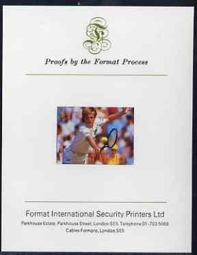 St Vincent - Bequia 1988 International Tennis Players $1.75 (Stefan Edberg) imperf proof mounted on Format International proof card