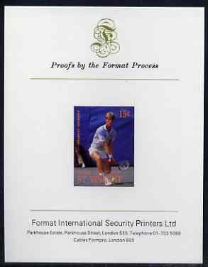 St Vincent - Bequia 1988 International Tennis Players 15c (Anders Jarryd) imperf proof mounted on Format International proof card