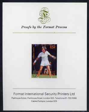 St Vincent - Bequia 1988 International Tennis Players 45c (Anne Hobbs) iimperf proof mounted on Format International proof card
