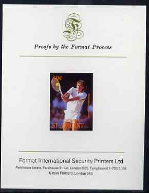 St Vincent - Bequia 1988 International Tennis Players 80c (Jimmy Connors) iimperf proof mounted on Format International proof card