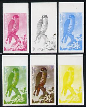 Staffa 1977 Birds of Prey #01 Hobby 2.5p set of 6 imperf progressive colour proofs comprising the 4 individual colours plus 2 and all 4-colour composites unmounted mint