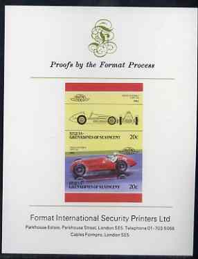 St Vincent - Bequia 20c Alfa Romeo (1950) imperf se-tenant proof pair mounted on Format International proof card