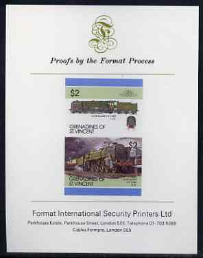 St Vincent - Grenadines 1986 Locomotives #6 (Leaders of the World) $2 (4-6-2 Clan Class) imperf se-tenant proof pair mounted on Format International proof card (as SG 455a)