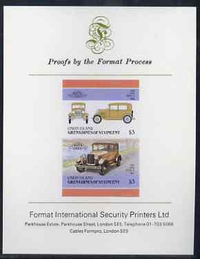 St Vincent - Union Island 1986 $3 Ford Model A imperf se-tenant proof pair mounted on Format International proof card