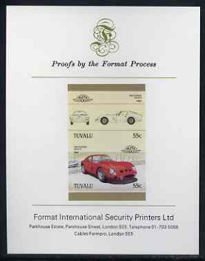 Tuvalu 1985 55c Ferrari imperf se-tenant proof pair mounted on Format International proof card (as SG 366a)