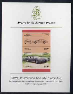 Tuvalu 1985 Cars #3 (Leaders of the World) $1.50 Aston Martin Lagonda imperf se-tenant proof pair mounted on Format International proof card (as SG 370a)