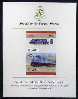 Tuvalu 1985 Locomotives #5 (Leaders of the World) 40c (GM SD-50) imperf se-tenant proof pair mounted on Format International proof card (SG 350a)