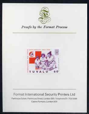 Tuvalu 1988 Red Cross 60c imperf proof mounted on Format International proof card (as SG 521)