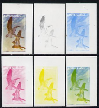 Staffa 1977 Birds of Prey #01 Montagus Harrier 7.5p set of 6 imperf progressive colour proofs comprising the 4 individual colours plus 2 and all 4-colour composites unmounted mint