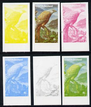 Staffa 1977 Birds of Prey #01 Kite 10p set of 6 imperf progressive colour proofs comprising the 4 individual colours plus 2 and all 4-colour composites unmounted mint
