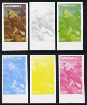 Staffa 1977 Birds of Prey #01 Rough-Legged Buzzard 15p set of 6 imperf progressive colour proofs comprising the 4 individual colours plus 2 and all 4-colour composites unmounted mint