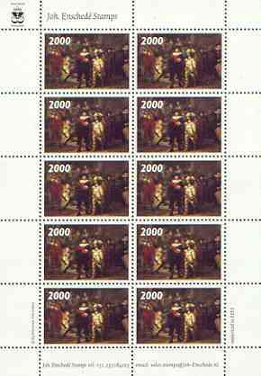 Cinderella 2000 The Nightwatch by Rembrandt, undenominated sample stamp in perf sheetlet of 10 specially produced by Joh Ensched� unmounted mint