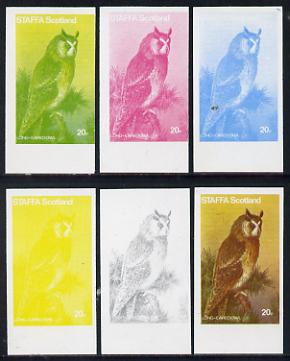 Staffa 1977 Birds of Prey #01 Long-Eared Owl 20p set of 6 imperf progressive colour proofs comprising the 4 individual colours plus 2 and all 4-colour composites unmounted mint, stamps on birds, stamps on birds of prey, stamps on owls