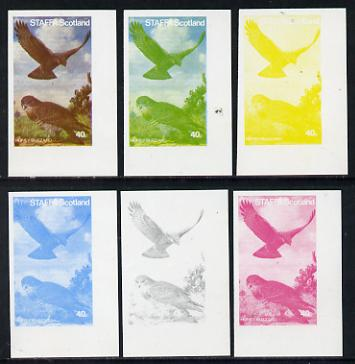 Staffa 1977 Birds of Prey #01 Honey Buzzard 40p set of 6 imperf progressive colour proofs comprising the 4 individual colours plus 2 and all 4-colour composites unmounted mint