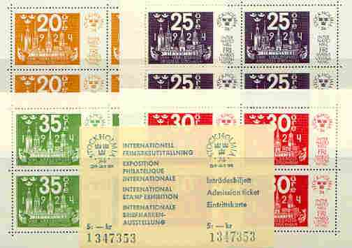 Sweden 1974 'Stockholmia 74' Stamp Exhibition set of 4 m/sheets (SG MS 783) plus admission ticket in special folder
