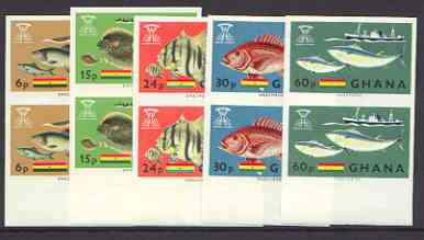 Ghana 1966 Freedom From Hunger (Fish) set of 5 in unmounted mint imperf pairs, as SG 420-24*