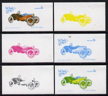 Oman 1976 Vintage Cars #1 3b (Issota Fraschini 1908) set of 6 imperf progressive colour proofs comprising the 4 individual colours plus 2 and all 4-colour composites unmounted mint