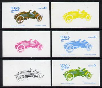 Oman 1976 Vintage Cars #1 5b (Renault 1.6hp 1902) set of 6 imperf progressive colour proofs comprising the 4 individual colours plus 2 and all 4-colour composites unmounted mint