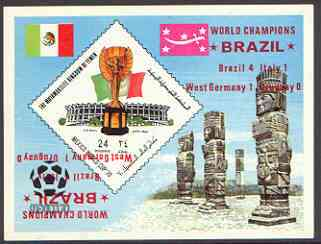 Yemen - Royalist 1970 World Cup Football 24b value (diamond shaped) imperf m/sheet unmounted mint opt'd 'Brazil World Champions' in red with opt doubled (one inverted)
