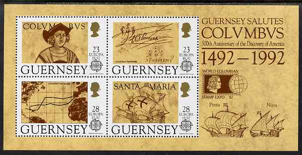Guernsey 1992 Europa - Columbus perf m/sheet opt'd for World Columbian Stamp Expo 92 unmounted mint, SG MS 560