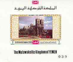 Yemen - Royalist 1970 'Philympia 70' Stamp Exhibition 1B Westminster Abbey imperf individual de-luxe sheet (as Mi 1028) unmounted mint