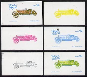 Oman 1976 Vintage Cars #1 15b (Pipe 1907) set of 6 imperf progressive colour proofs comprising the 4 individual colours plus 2 and all 4-colour composites unmounted mint